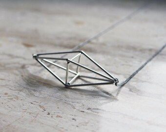 Himmeli inspired geometric pendant necklace, cage necklace in silver tone / geometric jewelry