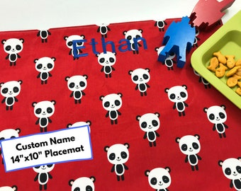 Embroidered Name Placemat (Panda Bear Placemat, Cotton Placemat For Children, Red Placemat, School Lunch, Personalised Name For Kids)
