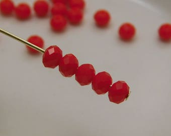 3x2mm Faceted Rondelles Crystal Beads Opaque Bright Red Abacus (Qty 25) CC3x2R-BrRed