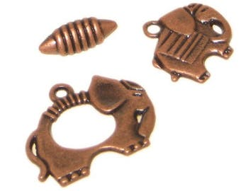 22 x 20mm Copper Toggle Clasp, plus Charm