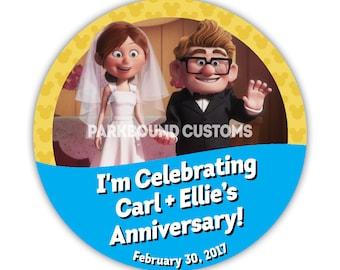 "Custom 3"" ""I'm Celebrating My Anniversary/Wedding"" Buttons with Carl & Ellie"