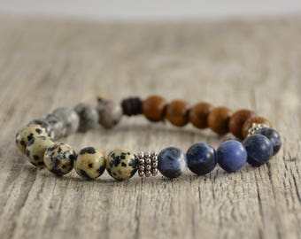 Boho chic stretch bracelet. Stackable beaded bracelets. Yoga jewelry. Bracelet stack