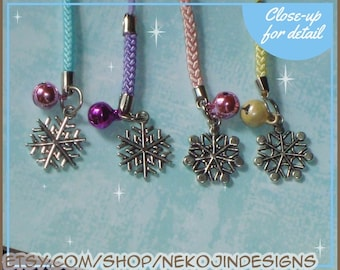 Snowflake Cell Phone Charm - cellphone lanyard lariat zipper pull dust plug - winter snow frozen elsa jack frost pink teal purple yellow