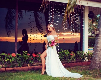 """Ivory Lace Wedding Dress from Chiffon and Lace, Wedding Dress with Train """"Yacia"""", Beach Wedding Dress, Romantic wedding gown, Custom dress"""