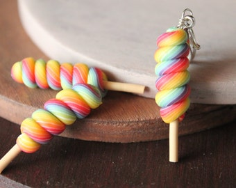 Rainbow lollipop charm, handmade with polymer clay, rainbow lollipop keychains, lollipop keychain, lollipop necklace, cute lollipop charm