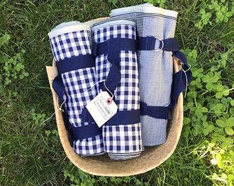 Picnic Blanket Cotton Denim Engineer Stripe with Pocket, d ring closure, Fringe Edges, Gift for Outdoorsy, Camper, Park goer