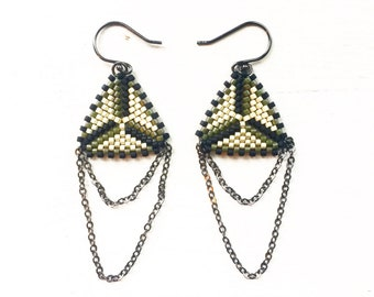 Earrings Triangle Silver, Black and Olive Green