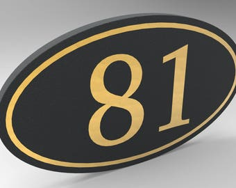 House Number Sign With Oval Frame with Gold Numbers & Trim Personalized.