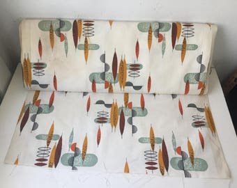 "Vintage new old stock mid-century modern cloth 48"" x 1 yard ONE YARD REMAINING"