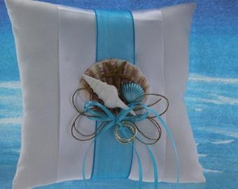 Seashell Ring Bearer Pillow with Turquoise Ribbon/ Beach Themed Wedding/ Destination Wedding