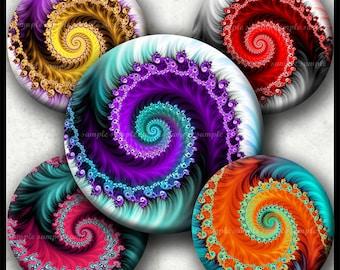 INSTANT DOWNLOAD Colorful Fractals (745) 4x6 1 inch round Bottle Cap Images Printable Digital Collage Sheet glass tile bows cabochon images