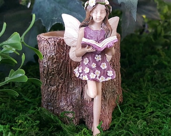 Miniature Stump Planter with Fairy in Purple and Daisies