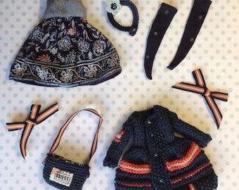 Blythe outfit:Navy Blue Set(cardigan/coat, dress,stockings,bag)