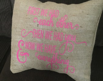 Burlap Envelope Pillow Cover/ Nursery Pillow Cover/ Kids Room Pillow Cover/ Baby Shower Gift/ Burlap Pillow Cover