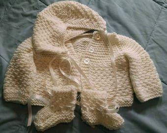Hand knitted baby sweater set - sweater, booties and bonett hat