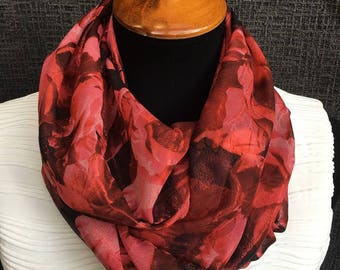 Red Floral Scarf, Circle Scarf, Red Scarf, Flower Scarf, Fashion Scarf, Dressy Scarf, Rose Scarf, Woman Gift, Cowl, Infinity Scarves
