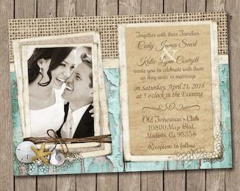 Beach Wedding Invitation, Rustic Burlap, Shabby Wood, Sand dollar, Starfish and Shell Invitation