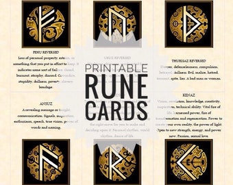 Rune cards. Divination cards. Divination with runes. Rune casting. Printable cards. Viking runes. Elder Futhark. Cards and spreads.