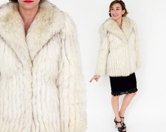80s White Fox Fur Coat   Saga Fox   Medium