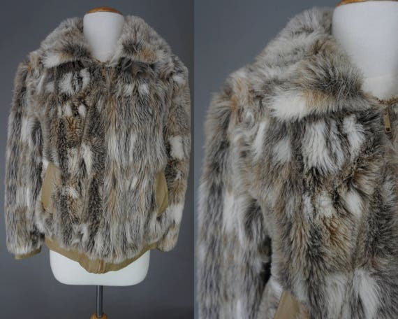 Leather Coat Vintage Cropped amp; 70s Fur Faux 80s Leather Fur Jacket Fur Coyote Medium Jacket AT0R7ngTq