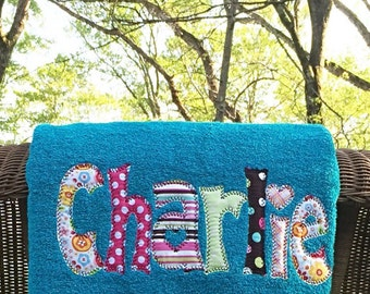 Applique Name Towel Personalized Bath Towel for boys or girls
