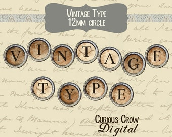 Vintage Typewriter Keys 12mm Circle Rounds Digital Collage Sheet -  INSTANT Download - Bottle cap Pendant Jewelry - Printable Download