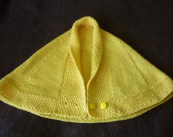 Capelet Shoulder Warmer Shawl  Peruvian Highland Wool Dandy Lion Yellow Small/Medium  Hand Knitted
