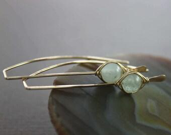 Pale blue aquamarine gold filled threader earrings - Aquamarine earrings - March birthstone earrings - Minimalist earrings - ER004