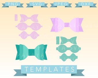 Diy Double Bow Template Cut File - SVG, PNG, JPEG - Cricut, Sihouette Cameo, Vector, craft, paper crafting, bows, cheer, 3d bow, 3d template