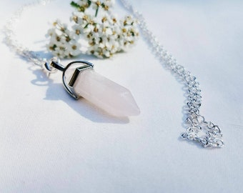 Rose quartz crystal pendant, gemstone, jewelry, pendulum, necklace
