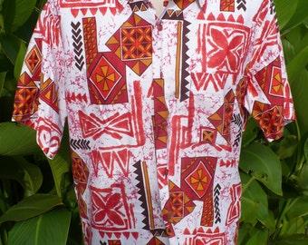 VINTAGE 60s HAWAIIAN Sands 1960s Sun Burst Orange Hawaiian SHIRT size M by jeansVintageCloset