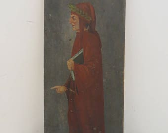 Signed Antique Oil Painting Poet Dante in Red Robe 2nd side Landscape