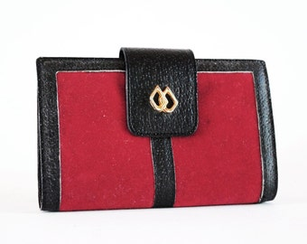 Red Velvet & Black Leather Mid Century Wallet W Removable Change Purse