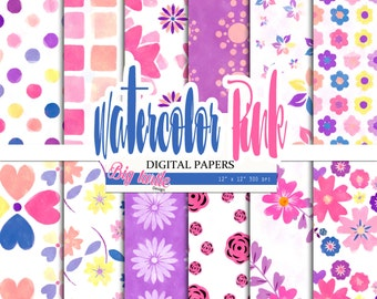 80% OFF SALE! Watercolor Floral digital paper, Floral watercolor background, Floral patterns, Scrapbook Paper, Printable, Background,12 JPG.