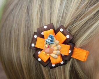 Small Thanksgiving Hair Bow - Thanksgiving Hair Clip - Thanksgiving Hair Accessory - Turkey Hair Clip - Thanksgiving Turkey Hair Bow