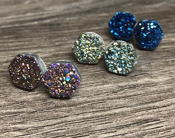 Druzy Stud Earrings | Druzy Studs | Drusy Studs | Stud Earrings | Druzy Post Earrings