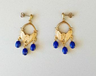 Raw Brass and Lapis Lazuli Chandelier Earrings with Teardrop Stud