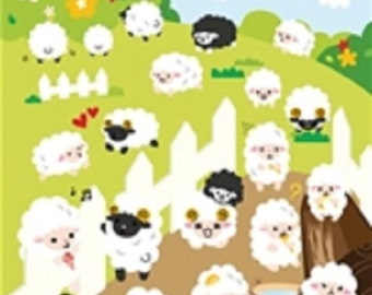 Stickers of felt - sheep and flower - x 39