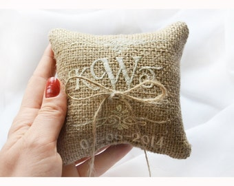 Embroidered Burlap Wedding ring pillow ,4x4 wedding pillow , ring pillow, ring bearer pillow with Custom embroidery (LR4)