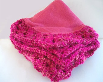 Hot Pink and Raspberry Fleece Baby Blanket With Crochet Trim