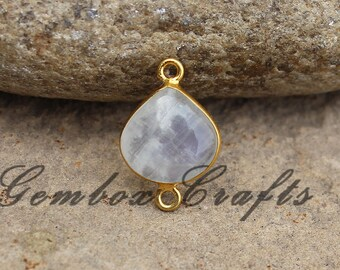 Natural Rainbow Moonstone 14mm Heart Cabochon 925 Sterling Silver Gold Plated Bezel Connector