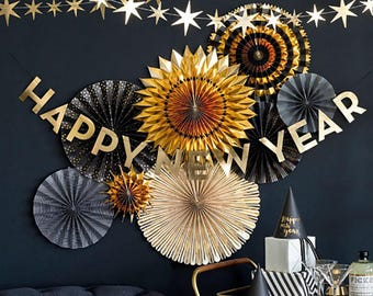 New Years Eve Banner, New Years Eve Party, Happy New Year, Banner, NYE 2018, New Years, NYE Party, NYE Decor, New Years Eve Party, Gold Foil