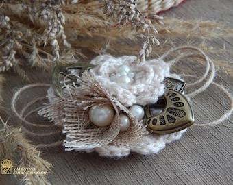 Beautiful Antique Handmade Brooch. Yarn Knitted Boho Brooch. Shabby Chic