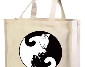 Yin Yang Cats Cotton Shopping Bag with gusset and long handles