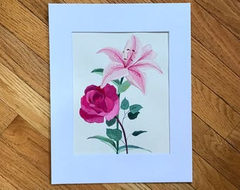 Rose and Lily watercolor, Original Rose art, Watercolor painting, watercolor art, small painting, Floral illustration, wall art, pink Lily,
