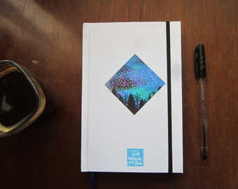 Blank book for writing and drawing with watercolor winter night/personal diary or drawing Notebook