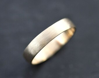 Men's Gold Wedding Band, 4.5mm Low Dome 14k Recycled Hand Carved Yellow Gold Wedding Ring  -  Made in Your Size