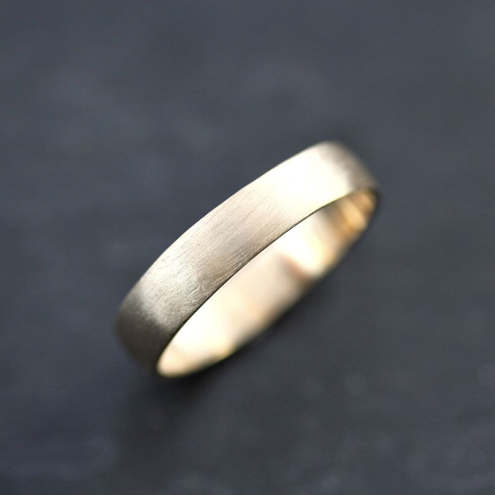 Mens Gold Wedding Band 45mm Low Dome 14k Recycled Hand