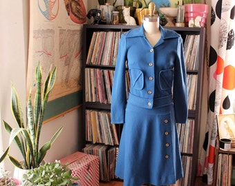 vintage 60s Cadillac brand knit wool skirt and jacket set . slate blue wool jacket, matching skirt . womens size small