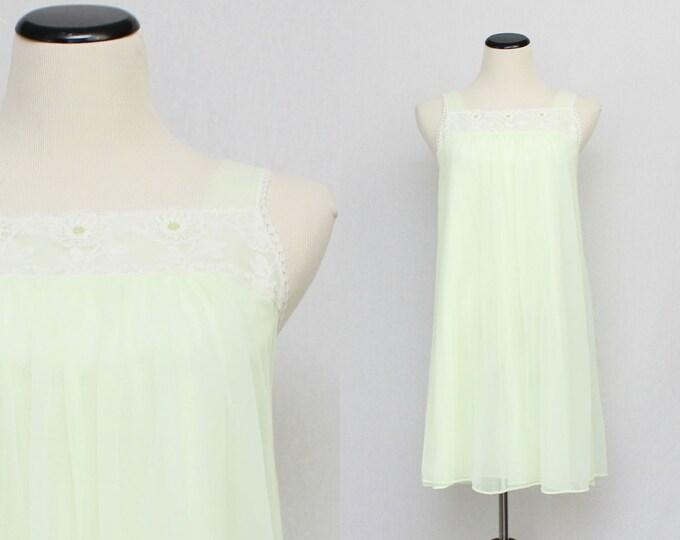Chiffon Baby Doll Nightie - Pale Green Nightdress - Vintage 1960s Sleepwear by French Maid Co